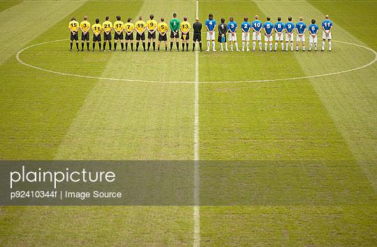 Football teams on pitch