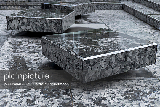 Japan, Tokyo, square stone blocks with leaf pattern