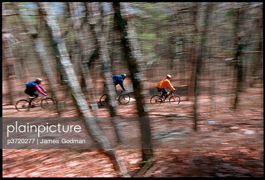 Mountain bikers in motion
