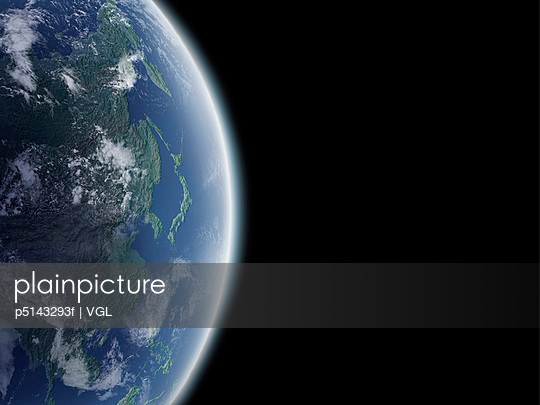 The earth, computer graphic, black background, copy space