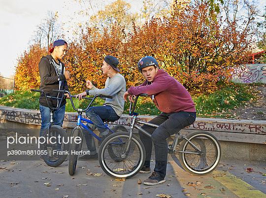 BMX biker in a park