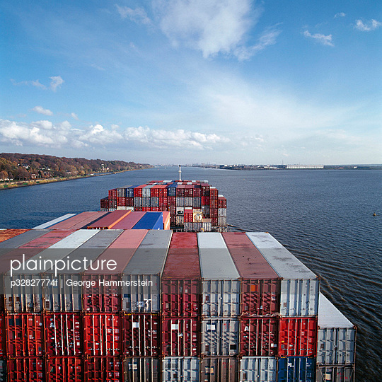 Cargo containers on ship