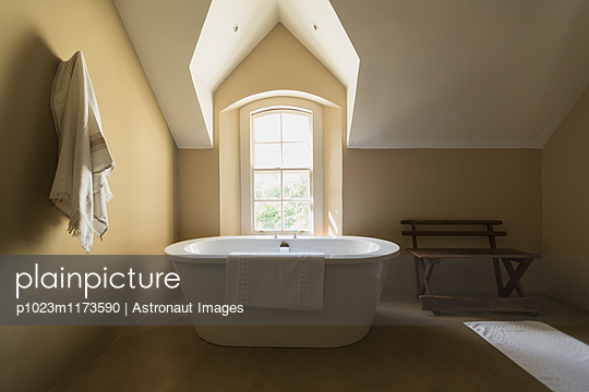 Home showcase soaking tub at sunny vaulted window