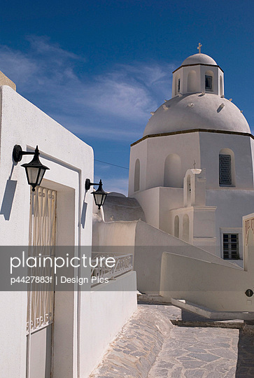 Greek architecture, Fira, Santorini, Greece