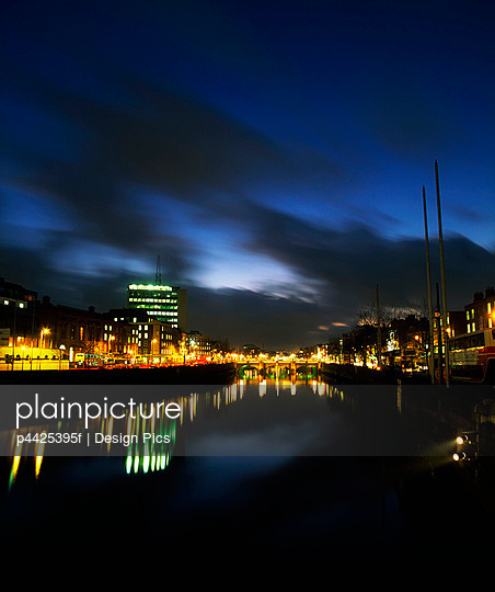 River Liffey at night, Dublin, Ireland