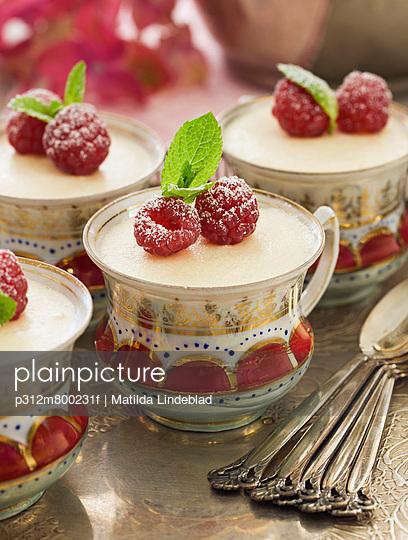 Raspberry dessert in cups