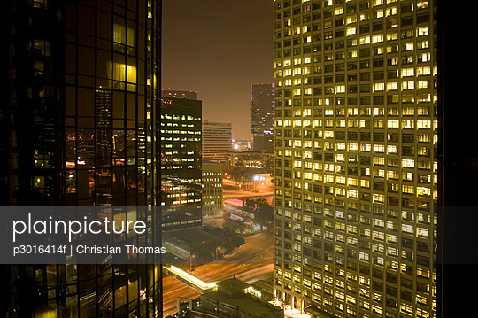 Downtown cityscape at night, Los Angeles, California
