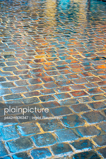 Square stone blocks on a floor with a reflection on the shiny surface; Beirut, Lebanon