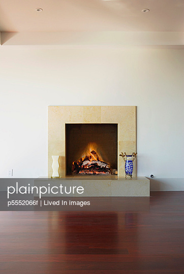 Minimalist Fireplace with Fire