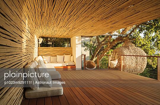 Cushions along wooden patio
