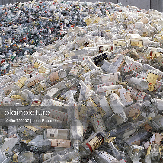Large heap of bottles for recycling