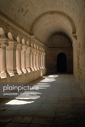 Gothic columns lining corridor of Romanesque Abbey of Senanque