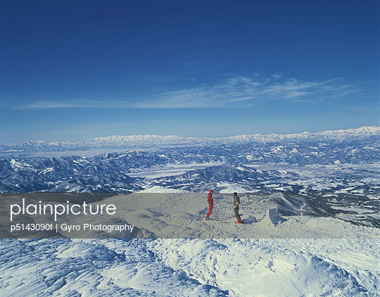 Snow-covered landscape in in Yamagata