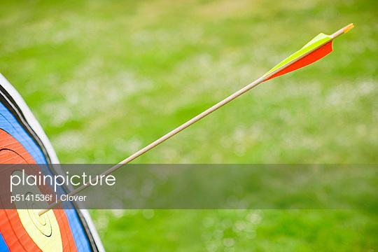 Arrow in bullseye of target (close-up)