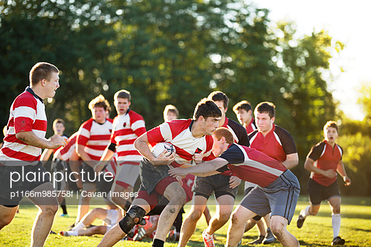 Rugby Team Having a Scrimmage