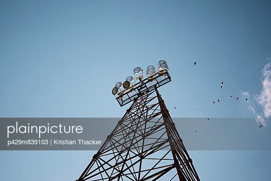 Floodlight tower from low angle view