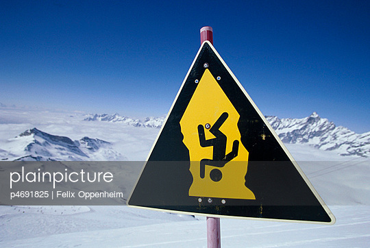 Warning sign in the alps
