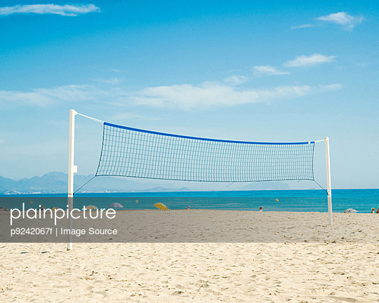 Volleyball net on beach, Benidorm, Costa Blanca, Spain
