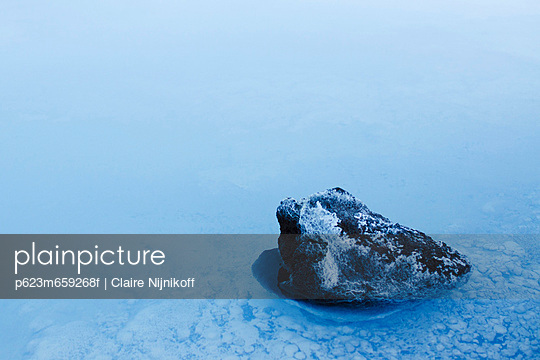 Volcanic rock covered in silica mineral deposits, Blue Lagoon, Reykjanes Peninsula, Iceland