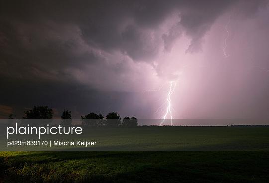 Thunderstorm raging over night sky