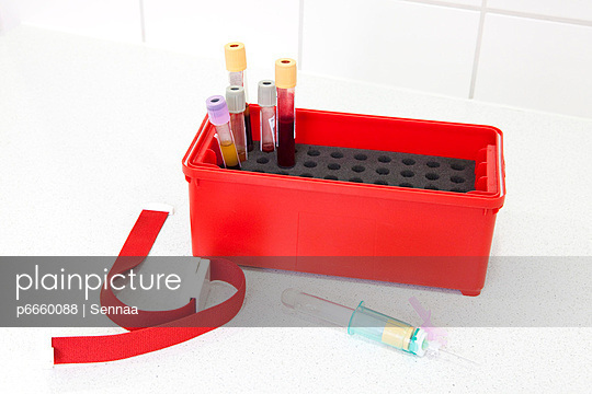 Blood samples in a box