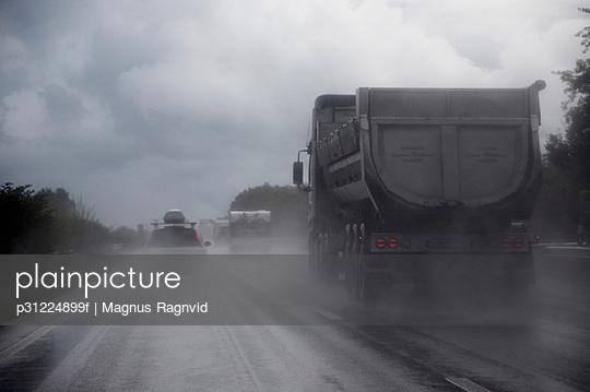 Rain weather on highway