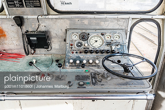 Steering wheel and control panel in train