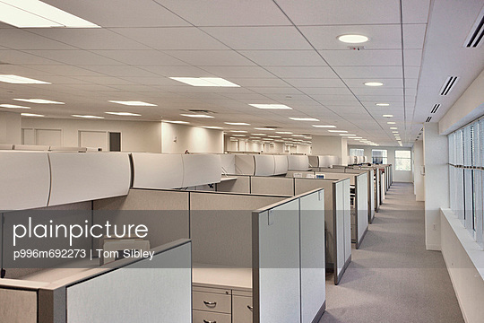 White Office Hallway With Cubicles