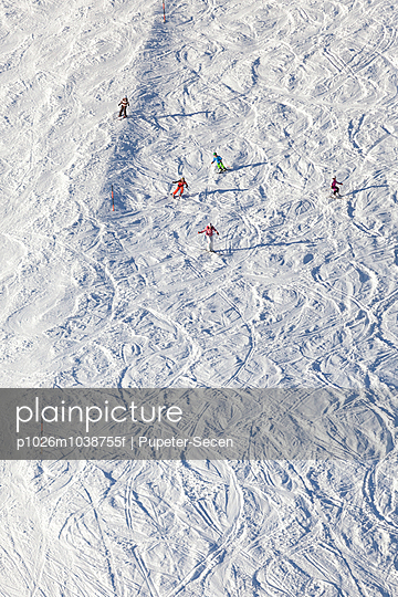 Ski holiday, Skiers carving downhill, Sudelfeld, Bavaria, Germany