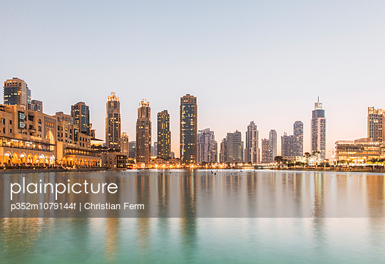 United Arab Emirates, Dubai, Skyline at dusk