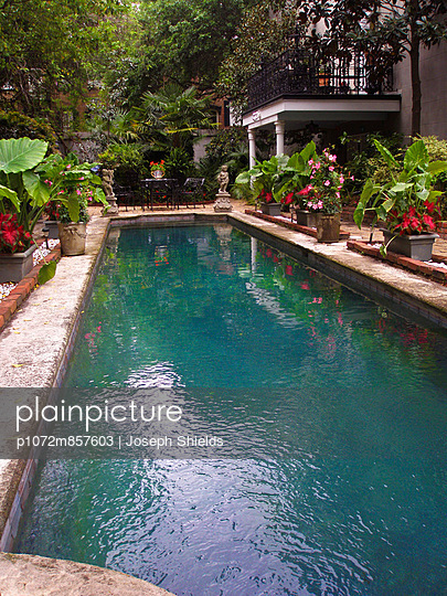 Outdoor lap pool in garden of Savannah\'s Historic District.