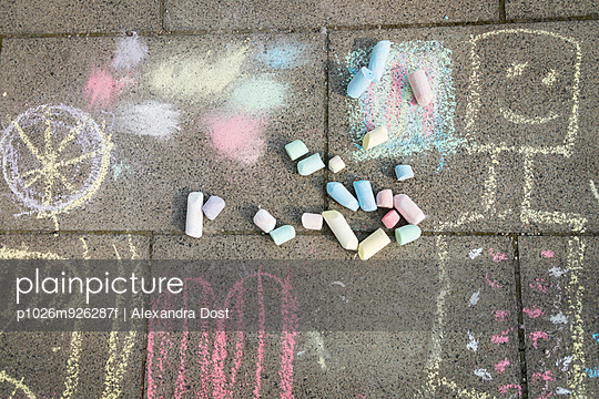 Chalk drawings on sidewalk, Munich, Bavaria, Germany