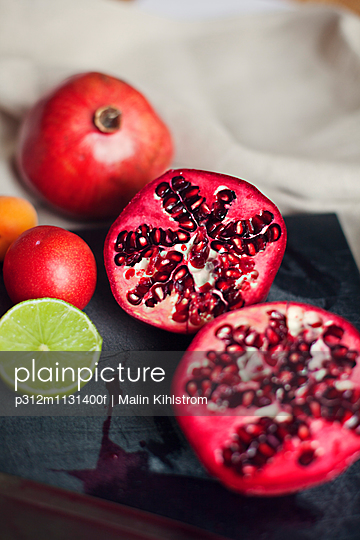 Fruits on cutting board