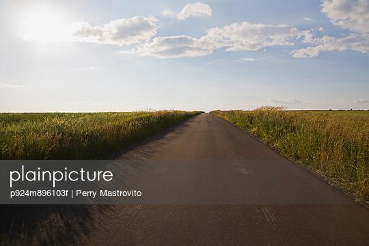 Country road through fields (Route du Mitan), Saint-Jean, Ile d\'Orleans, Quebec