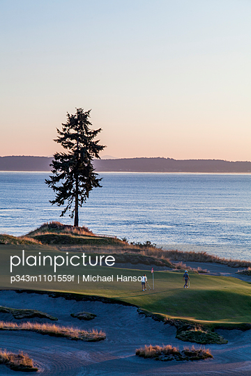 Chambers Bay golf course, site of the 2015 US Open, near Tacoma, WA on a sunny evening.