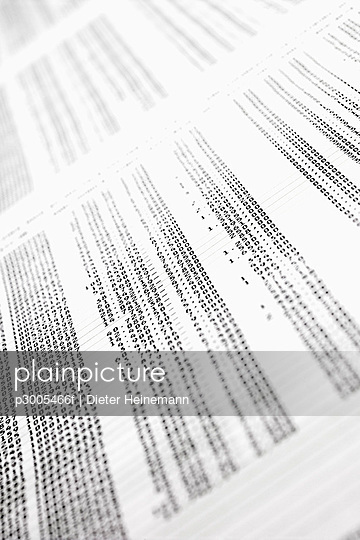 Electronic data printout, full frame
