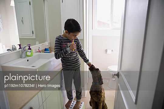 Boy brushing teeth and petting dog in bathroom