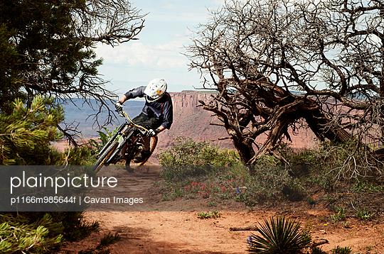 USA, Utah, Moab, Mountain biker riding in mountains