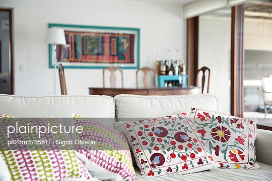 Decorative cushions on sofa