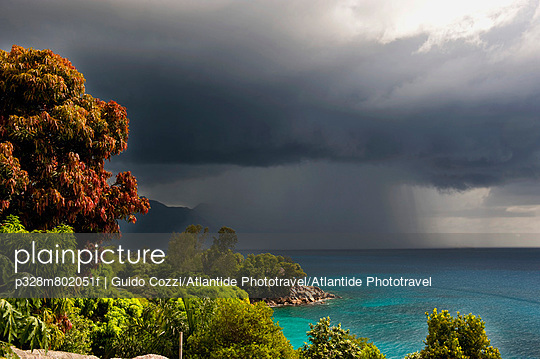 Storm clouds gathering over sea near North Point, Mahe, Seychelles