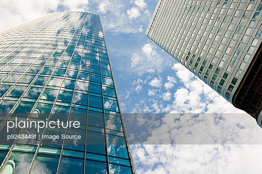 Clouds reflected in modern office buildings, Frankfurt, Germany