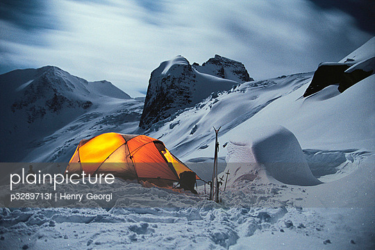 Winter camping, Bugaboo Provincial Park, British Columbia