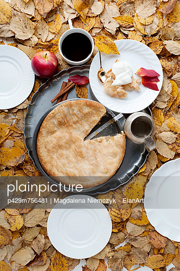 Pie and coffee in autumn leaves