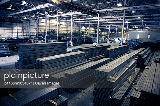 Bird\'s eye view of steel manufacturing warehouse