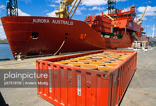Ship with containers at harbour