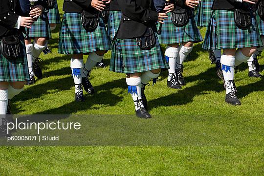 Pipe band at highland games, Pitlochry, Perthshire, Scotland