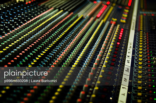 Close Up Of A Sound Mixing Board