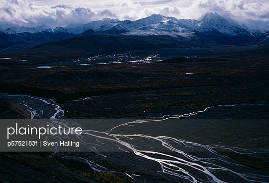 Landscape and snow-covered mountains