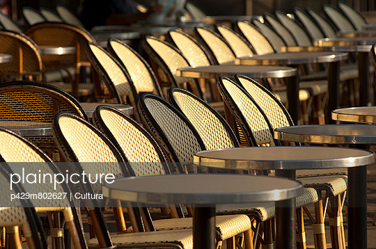 Chairs on the terrace of a cafe in Paris, France