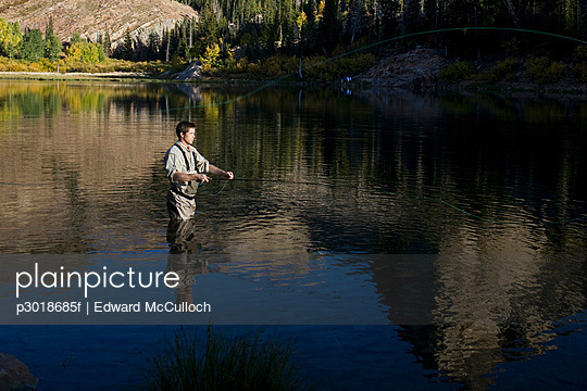 A man fly fishing in a lake